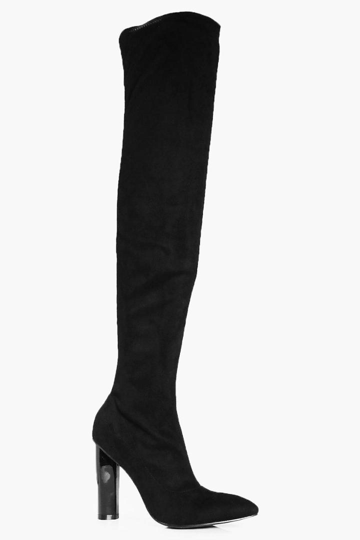 Boohoo Kayla Pointed Thigh High Boots Black