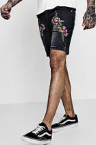 Boohoo Skinny Fit Denim Shorts With Embroidery