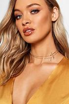 Boohoo Double Layer Cross Choker Necklace