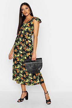 Boohoo Tall Ruffle Sleeve Belted Fruit Print Midi Dress