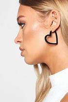 Boohoo Black Resin Heart Hoop Earrings
