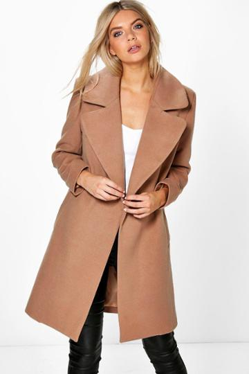 Boohoo Poppy Oversized Collar Wool Look Coat Camel