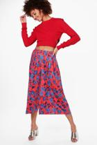 Boohoo Aura Floral Pleated Slinky Wide Leg Culottes Red