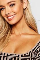 Boohoo Gold Rectangle Earrings