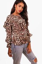 Boohoo Harriet Leopard Print Ruffle Blouse