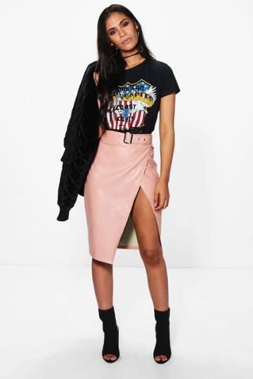 Boohoo Azalen Belted Leather Look Midi Skirt Blush