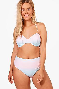 Boohoo Plus Lauren Shell Top High Waist Bikini