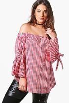 Boohoo Plus Fiona Off The Shoulder Gingham Tie Sleeve Top