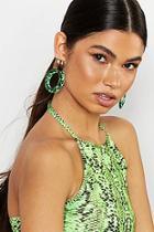 Boohoo Mermaid Glitter Resin Oval Statement Earrings
