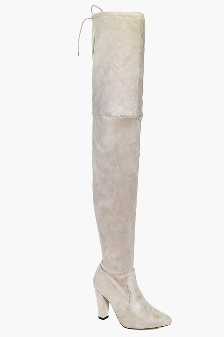 Boohoo Vanessa Block Heel Thigh High Boot Nude
