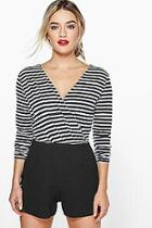 Boohoo Lola Striped Wrap Front Playsuit
