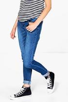 Boohoo Isla Indigo Mid Rise Skinny Jeans