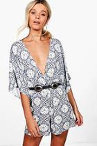 Boohoo Tilly Tile Print Kimono Sleeve Playsuit