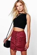 Boohoo Nicia Suedette Pocket Side Lace Up Mini Skirt