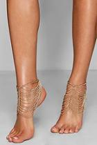Boohoo Hope Statement Layered Chain Anklet Pair