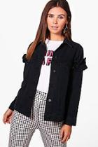 Boohoo Petite Jodie Ruffle Sleeve Denim Jacket