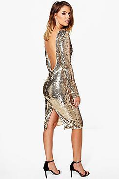 Boohoo Boutique Nora Sequin Open Back Midi Dress