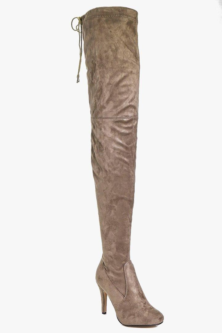 Boohoo Natasha Thigh High Boot Taupe