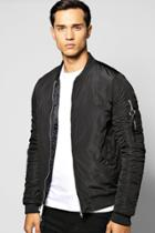 Boohoo Ma1 Bomber With Rouched Sleeves Black