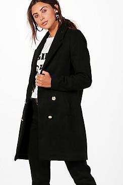 Boohoo Petite Kara Double Breasted Military Duster Coat