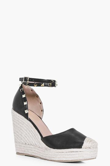 Boohoo Lilly Studded Ankle Strap Wedge Black