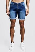 Boohoo Stretch Skinny Fit Mid Blue Denim Shorts