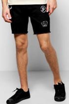 Boohoo Skinny Fit Badge Denim Shorts Black