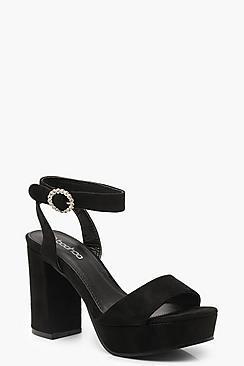Boohoo Diamante Buckle Peeptoe Platform Heels