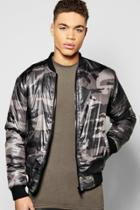 Boohoo Diamond Quilted Padded Camo Bomber Jacket Grey
