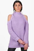 Boohoo Hannah Funnel Neck Cold Shoulder Jumper
