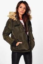 Boohoo Libby Crop Padded Jacket With Faux Fur Hood
