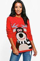 Boohoo Anna Reindeer Christmas Jumper