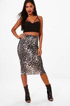 Boohoo Maisy Leopard Print Midi Skirt