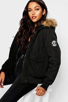 Boohoo Short Hooded Padded Jacket With Faux Fur Trim
