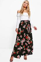 Boohoo Bex Floral Chiffon Wrap Maxi Skirt