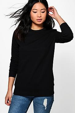 Boohoo Petite Clara Crew Neck Sweat