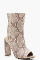 Boohoo Extra Wide Fit Croc Peeptoe Shoe Boots