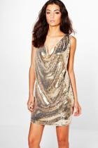Boohoo Tall Melisa Drape Front Sequin Dress Gold