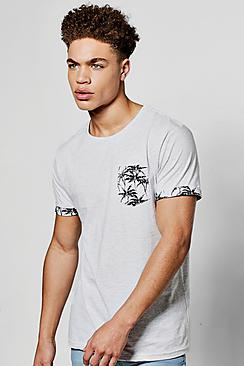 Boohoo Palm Print T Shirt Pocket And Sleeve Turn Up
