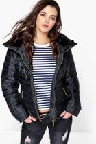 Boohoo Maya Quilted Zip Detail Jacket Black