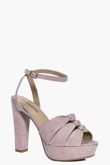 Boohoo Lizzie Triple Knotted Platform Heels Blush