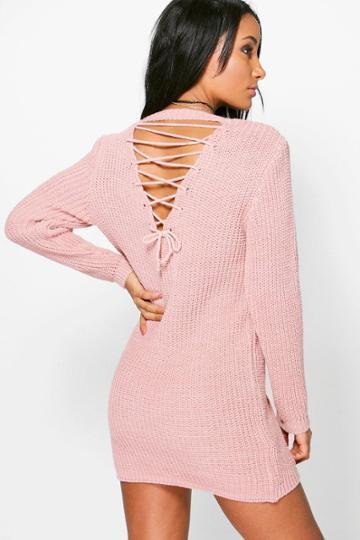 Boohoo Frances Lace Up Back Jumper Dress Blush
