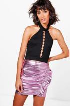Boohoo Naya Ruffle Front Metallic Mini Skirt Rose
