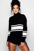Boohoo Sports Stripe Roll Neck Jumper