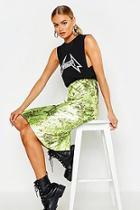 Boohoo Satin Snake Bias Midi Skirt