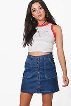 Boohoo Shona Button Through Denim Mini Skirt