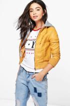 Boohoo Imogen Faux Leather Hooded Biker Jacket Yellow
