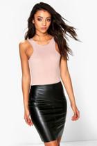 Boohoo Tall Millie Leather Look Mini Skirt Black