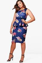 Boohoo Plus Lucie Floral Sleeveless Peplum Dress