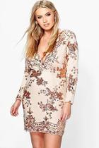 Boohoo Plus Fiona Sequin Plunge Bodycon Dress